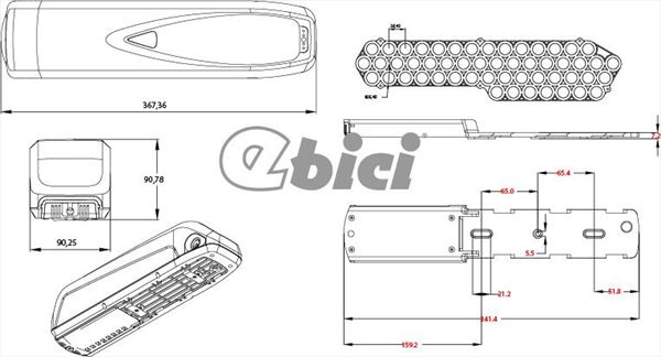 Kit HD Ebici central 48V 1KWM batería botella (4)